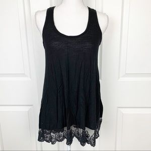 Chloe K Black Tank Top with Lace Trim